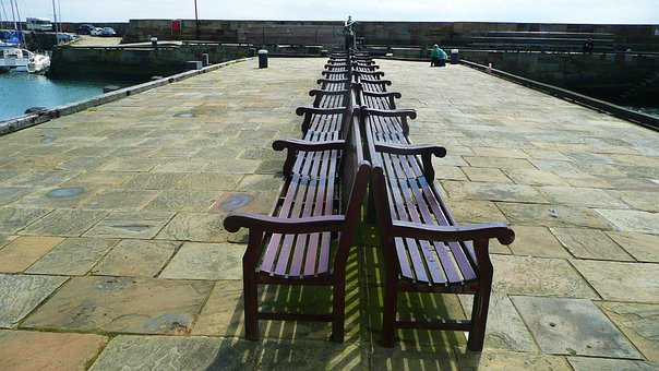 Benches, Rest, Pier, Relax, Ocean, Vacation, Coast