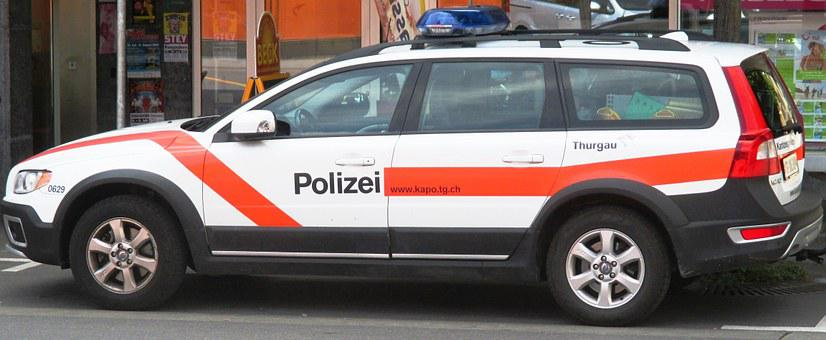 Police Car, Blue Light, Peace And Order, Security