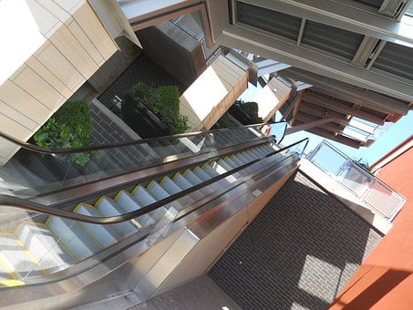Angles, Escalator, Levels, Skewed, Mall