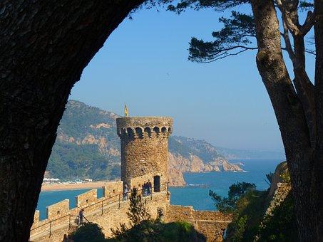 Tower, Castle, Old, Tossa De Mar, Spain, Sea