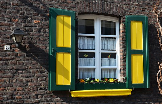 Window, Building, Facade, Yellow, Green, Age