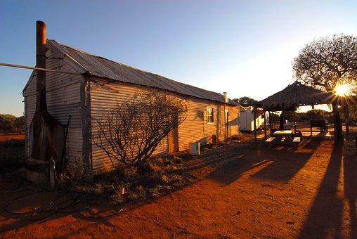 Outback, Australia, Shearing Shed, Sunset