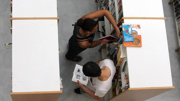 Library, Young, Women, Man, People, Study, Books, Girl