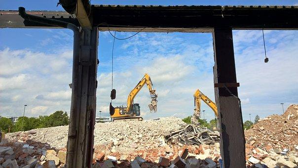 Construction Machinery, Demolition, Building Rubble