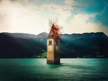 Lake, Church, Sunken Church, Steeple, Italy