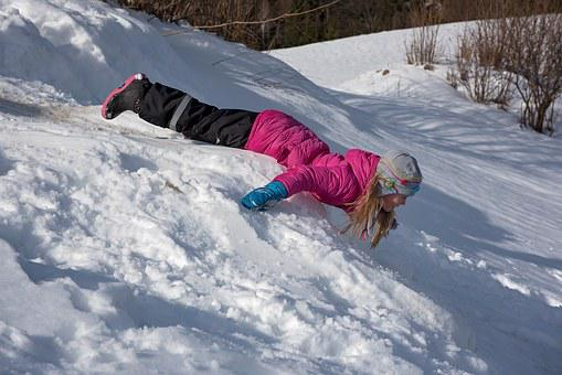 Child, Girl, Winter, Snow, Slip, Head Forward, Downhill
