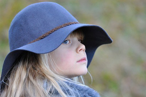 Girl, Child, Blond, Hat, View, Self-conscious, Consider