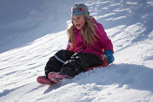 Child, Girl, Winter, Snow, Sunshine, Good Weather