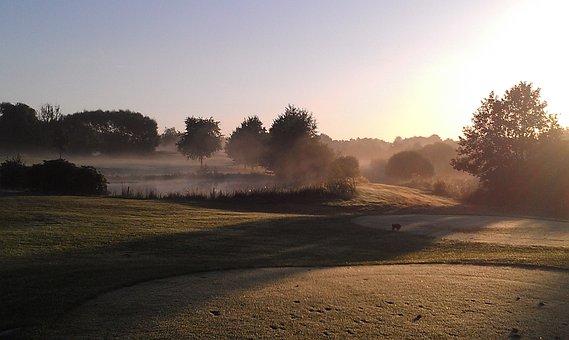 Golf Course, Bunker, Sand Trap, Morning, Sunrise
