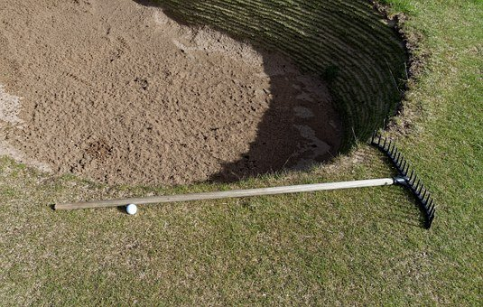 Golf, Bunker, Sand, Rake, Golf Ball, Ball, Sport