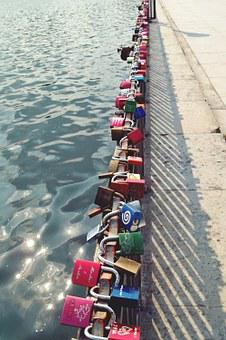 Castles, Grid, Bridge, Padlock, Love, Fence