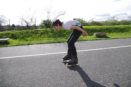 Rollerblades, Teen, Fun, Downhill, Boy, Happy, Active
