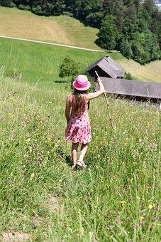 Person, Human, Child, Girl, Hiking, Walk, Meadow