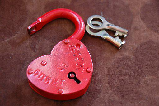 Castle, Heart, Love, Keys, Metal, Red, Romance, Wedding