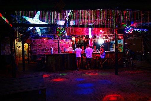 Bar, Night, Illuminated, Fluorescence, Party, Nightlife