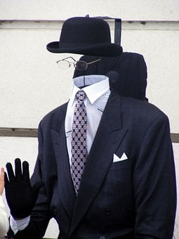 Invisible, Bowler, Suit, Hat, Glasses, Retro, Anonymous