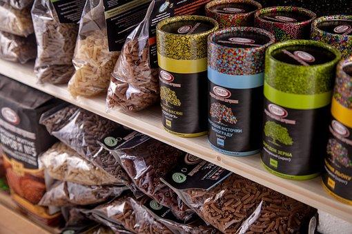 Shelf Shop, Shelves With Goods, Tubes