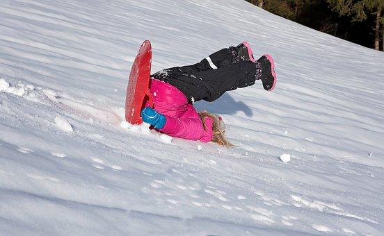 Child, Girl, Bob, Ride On, Downhill, Down, Slip