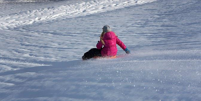 Child, Girl, Winter, Snow, Winter Fun, Ride On, Bob