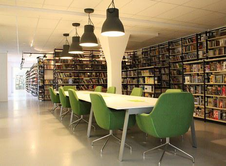 Library, Books, Corridor, Culture, Shelves, Table