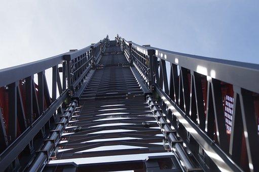 Turntable Ladder, Fire, Grey, Sky, Fire Truck, Delete