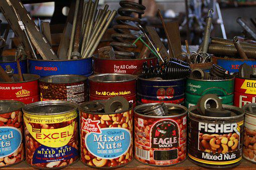 Shop, Cans, Vintage, Old, Containers, Supplies, Retro