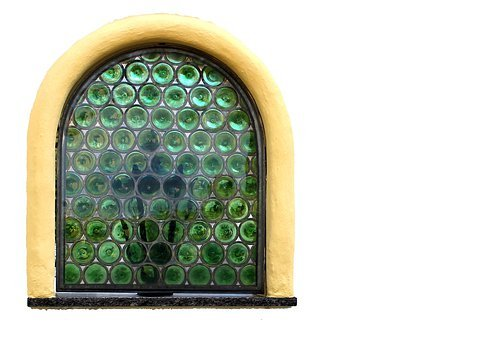 Window, Slug Glass, Bullseye, Green, Leaded Glass