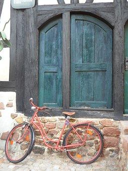 Bike, Door, Ajar, Waiting, Alley