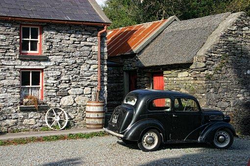 Ireland, Oldtimer, Auto, Stone Built House, Barn