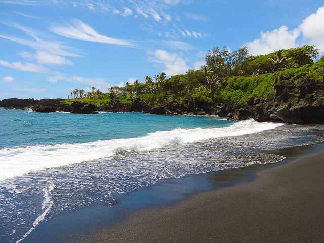 Black Sand, Beach, Hawaii, Maui, Beautiful