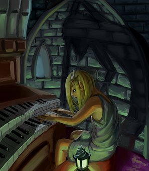 Dramatic, Organ, Castle, Girl, Blonde, Painting