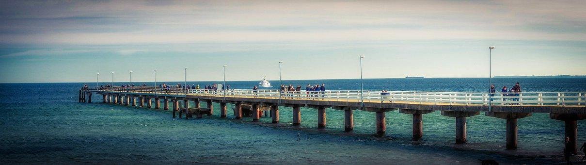 Baltic Sea, Sea, Sea Bridge, Timmendorfer Beach, Coast