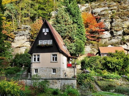 Three Girl House, Rock, Autumn, Colorful