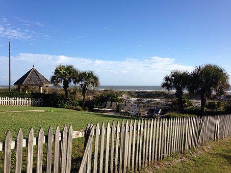 Seaside, Coastal, Yard, Lawn, Landscape, Fence