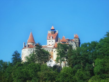 Bran Castle, Romania, Trees, Sky, Landmark, Historic