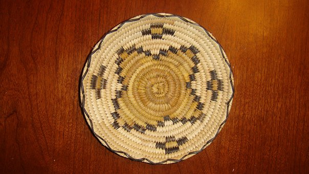 Basket, Papago, Indian, Indian Basket, Flower