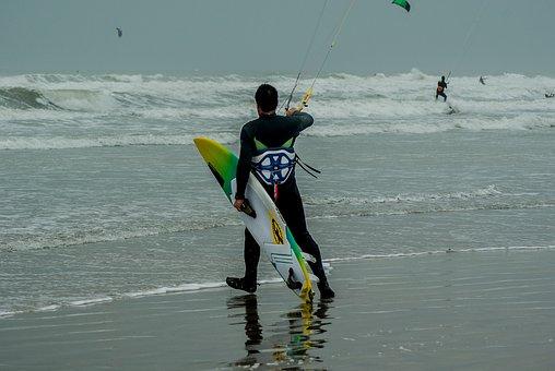 Kite Surfing, Kite Surfer, Waves, Water Sport
