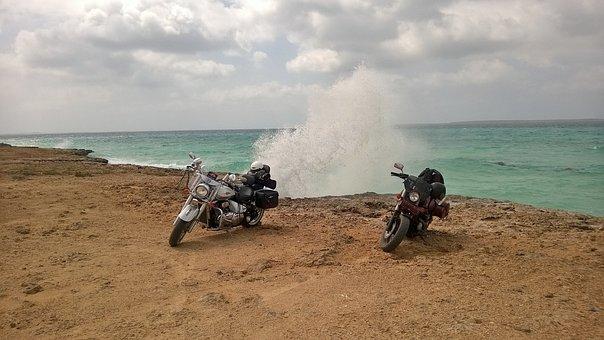Motorcycles, Sea, Wave, Water, Farasan Island