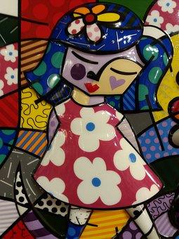 Britto, Painting, Pics, Enamel, Art, Colors, Girl