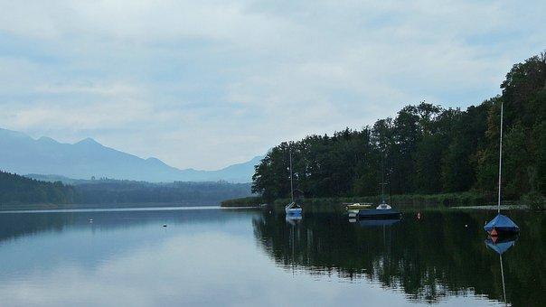 Lake, Morning, Still, Silent, Rest, Boats, Mirroring