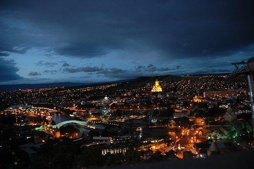 Tbilisi, Capital, City, Night, Georgia, Country, Cities