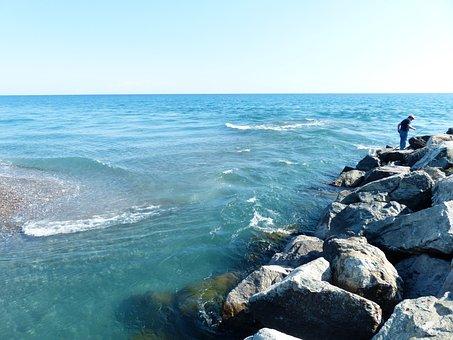 Sea, Mediterranean, Angler, Water, River, Flow, Wave