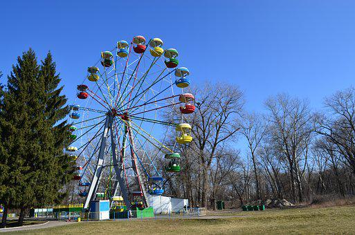 Park, Scrip, Ferris Wheel, Early Spring, City