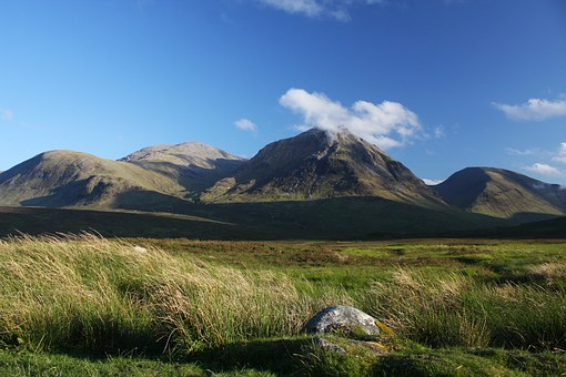 Glen Coe, Scotland, Mountain, Landscape, Hills, Clouds
