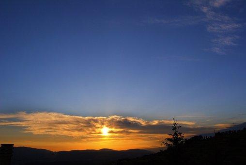 Sunset, Sky, Bue, Orange, Sunrise, Dawn, Dusk, Evening