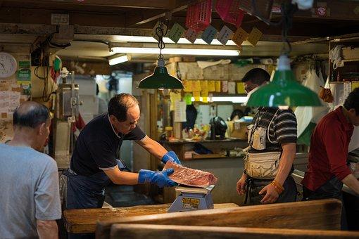 Asia, Asian, Fish, Market, Food, Gloves, Japan