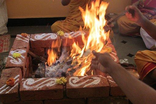 Performing Rituals, Dharwad, India, Fire, Glow, Orange