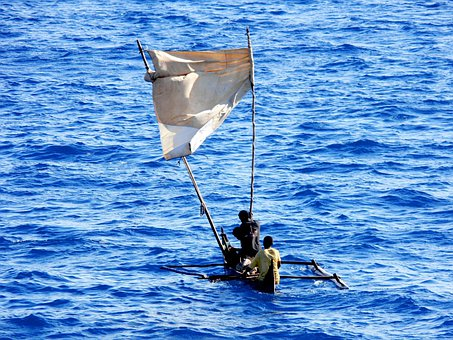 Dugout, Canoe, Homemade Sail, Sail, Tropical, Bay, Sea