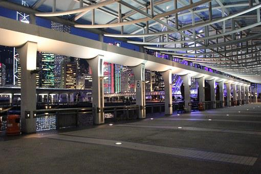 Hong Kong, Central, Pier, Night View