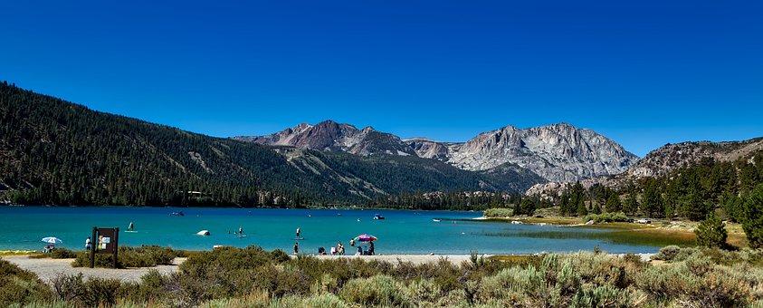 June Lake, California, Panorama, Mountains, Nature